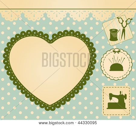 Vintage sewing elements on the background. Vector