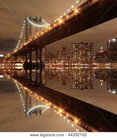 Manhattan Bridge and skyline At Night, New York City