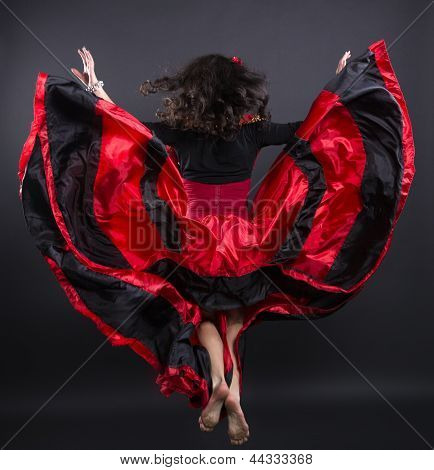 Young Romany Woman Fly In Spanish Traditional Clothes