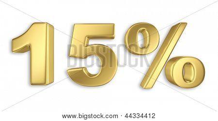 15% discount digits in gold metal, fifteen percent off golden sign