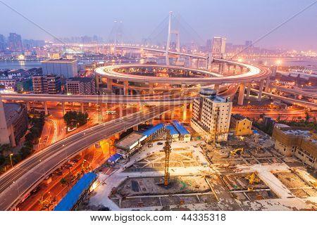 Nanpu Bridge at night. Shanghai, China