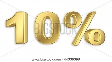 10% discount digits in gold metal, ten percent off golden sign
