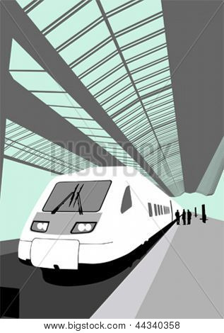 Vector image of a modern high-speed train at the railway station
