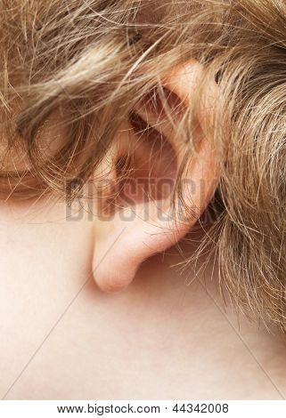 Human ear closeup.