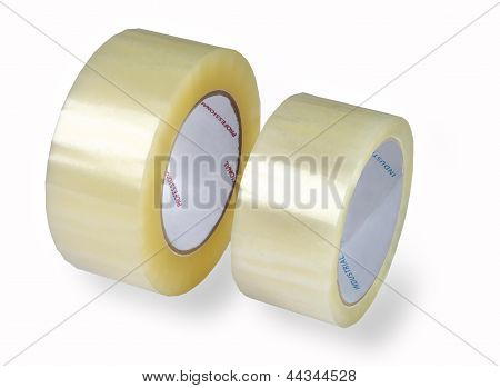 Packaging Tapes, Two Rolls Of Transparent Tape, Isolated Image On A White Background.