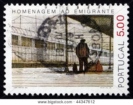 Postage Stamp Portugal 1979 Emigrant At Railroad Station