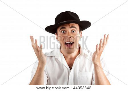 Expressive happy surprised man in hat