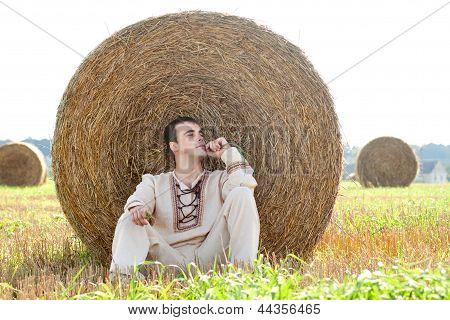 Young man in national belorussian costume