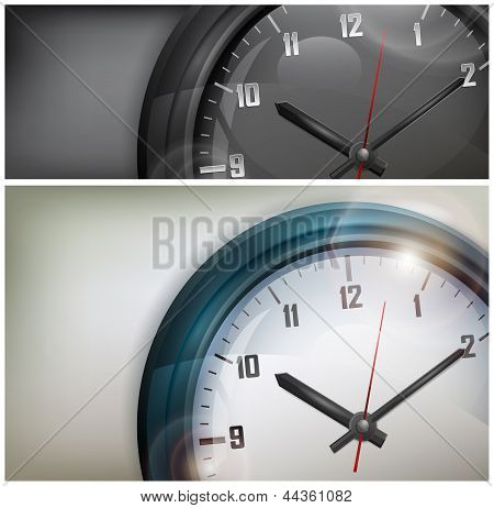 Clocks On White And Black