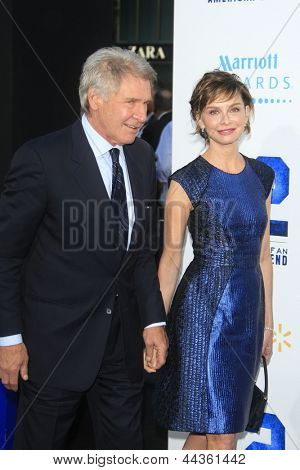 LOS ANGELES - APR 9: Harrison Ford, Calista Flockhart at the Los Angeles Premiere of '42' at TCL Chinese Theater on April 9, 2013 in Los Angeles, California