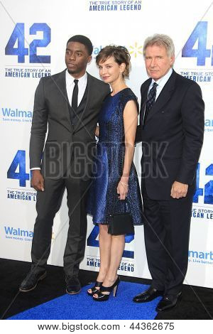 LOS ANGELES - APR 9: Chadwick Boseman, Calista Flockhart, Harrison Ford at the Los Angeles Premiere of '42' at TCL Chinese Theater on April 9, 2013 in Los Angeles, California