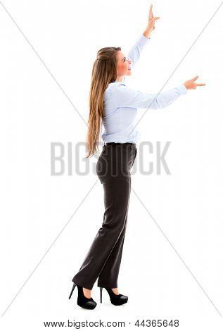 Business woman holding an imaginary object up. Isolated over white