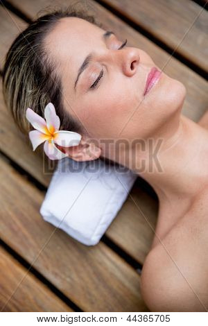 Portrait of relaxed woman with eyes closed