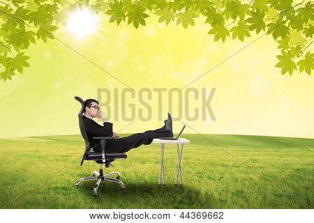 Businessman Contemplating In The Park