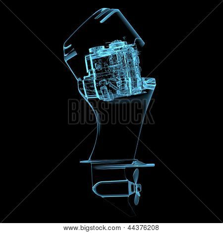Boat Engine (3D Xray Blue Transparent)
