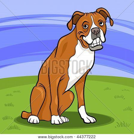 Ilustración de dibujos animados de perro de raza pura Boxer