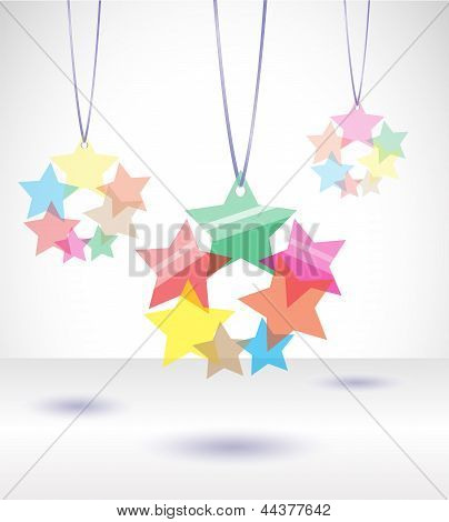 Vector illustration with tranparent stars.