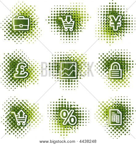 Business Web Icons, Green Dots Series