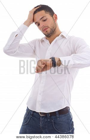 Young Man Running Late Isolated