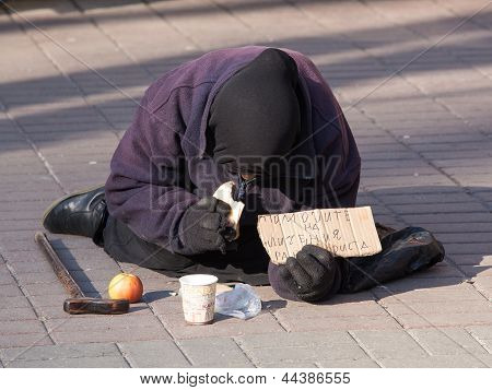 An Unidentified Homeless Woman In Kiev, Ukraine