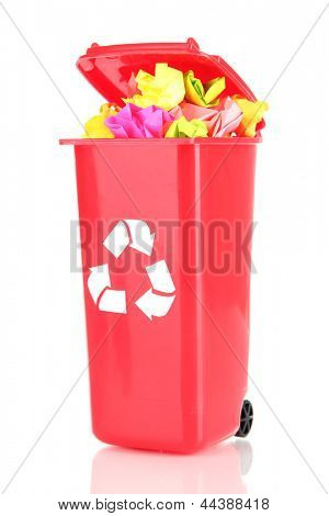 Recycling bin with papers isolated on white