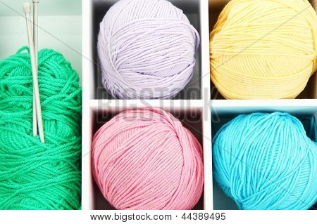 Material for knitting in white wooden box closeup