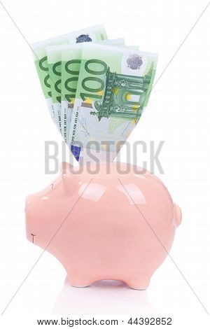 Smiling Piggy Bank With Euro Bills