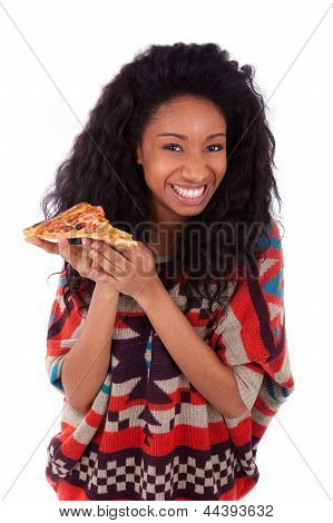 Young Black African American Teenage Girl Eating A Slice Of Pizza - African People