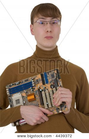 Student With An Circuit Board