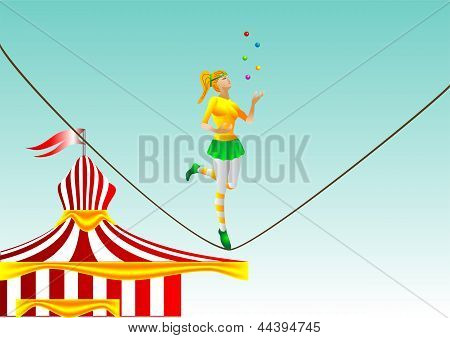 Circus. Girl On A Rope