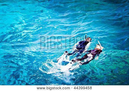 Couple skorkelling on the Great Barrier Reef, Australia