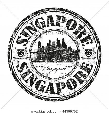 Singapore grunge rubber stamp