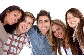 picture of young adult  - happy group of friends smiling isolated over a white background - JPG