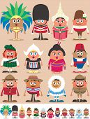 image of national costume  - Set of 12 characters dressed in different national costumes - JPG