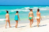 VARADERO,CUBA-APRIL 7:Young foreign tourists walking at the beach April 7,2013 in Varadero.With over