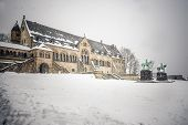 picture of winter palace  - Imperial Palace in Goslar with snow in winter - JPG