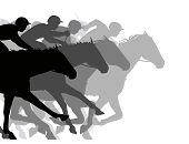 stock photo of grayscale  - Editable vector silhouettes of a very close horse race - JPG