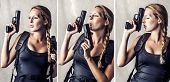 image of raider  - Collage of three photos of woman holding two hand gun - JPG