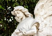 stock photo of diffusion  - Beautiful ancient female angel  sculpture with a diffused green vegetation background - JPG