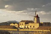 picture of marsala  - Windmill at sunset in the saltern near Marsala - JPG