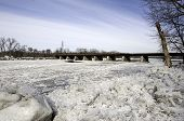 foto of mohawk  - Annual ice jams overflow the Mohawk River in Schenectady - JPG