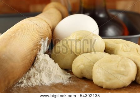 Flour Dough With Rolling Pin