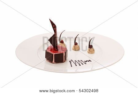 Chocolate Dessert On The White Background
