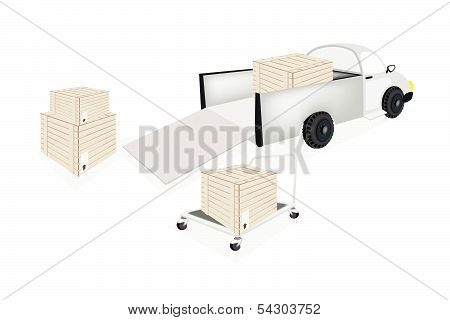Hand Truck Loading Shipping Box Into A Pickup Truck