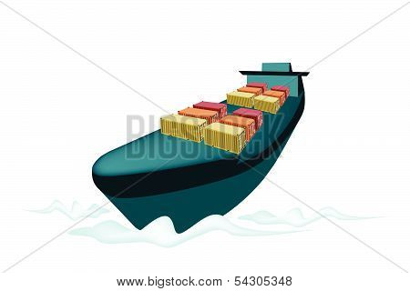 Stack Of Cargo Container On Cargo Ship