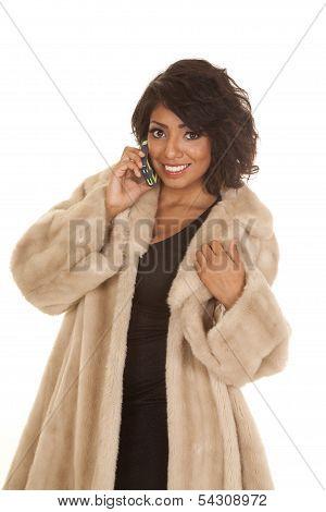 Hispanic Woman Fur Coat Phone Look Smile