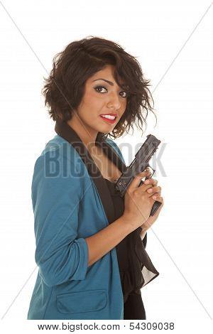 Hispanic Woman Gun Hold Up Look Smile
