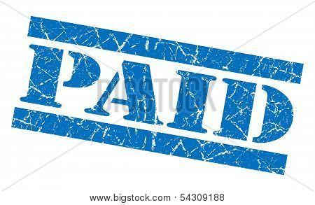 Paid Grunge Blue Stamp