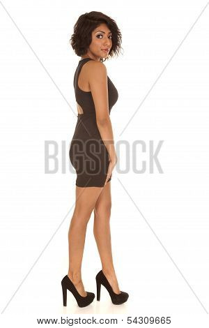 Woman Black Dress And Heels Side Look
