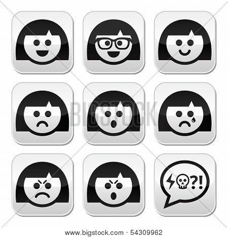 Smiling girl or woman faces, avatar vector buttons set